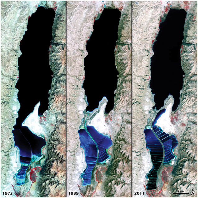 Shrinkage of the Dead Sea between 1972 and 2011