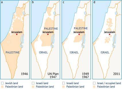 Palestinian loss of land, 1946 – 2011. Source: Fanack after AMEU, 2013