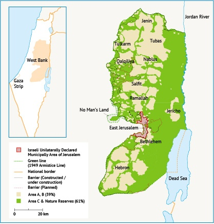 Distribution of areas A, B and C in the West Bank.