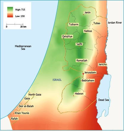 Average annual rainfall levels in Palestine. Source: Fanack after ARIJ