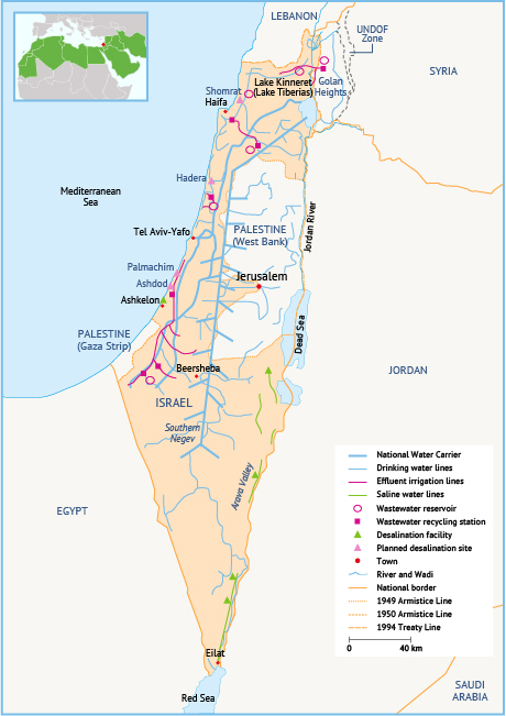 Map 3. Israel's national water infrastructure grid. Source: Fanack based on Tal, 2006.
