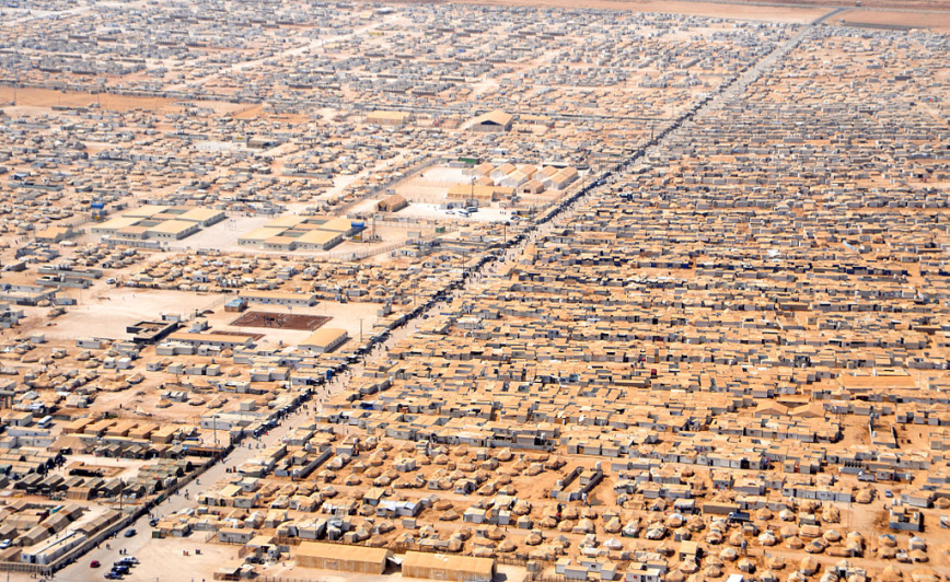 Aerial view of Za'atari camp for Syrian refugees, Jordan, 2013. Photo: US Department of State.