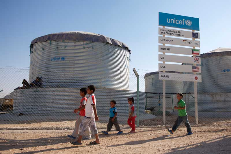 Water tanks in Za'atari camp, Jordan, 2013. Photo: UNICEF Jordan.