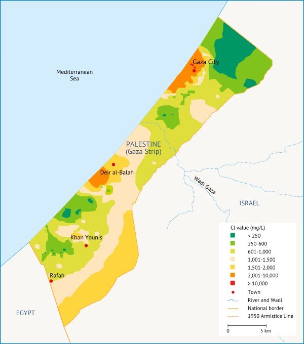 Chloride concentration in the Gaza Strip