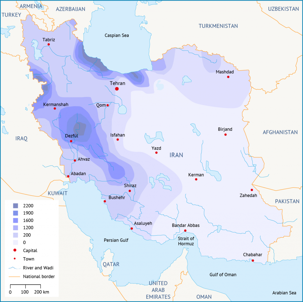 Precipitation distribution in Iran