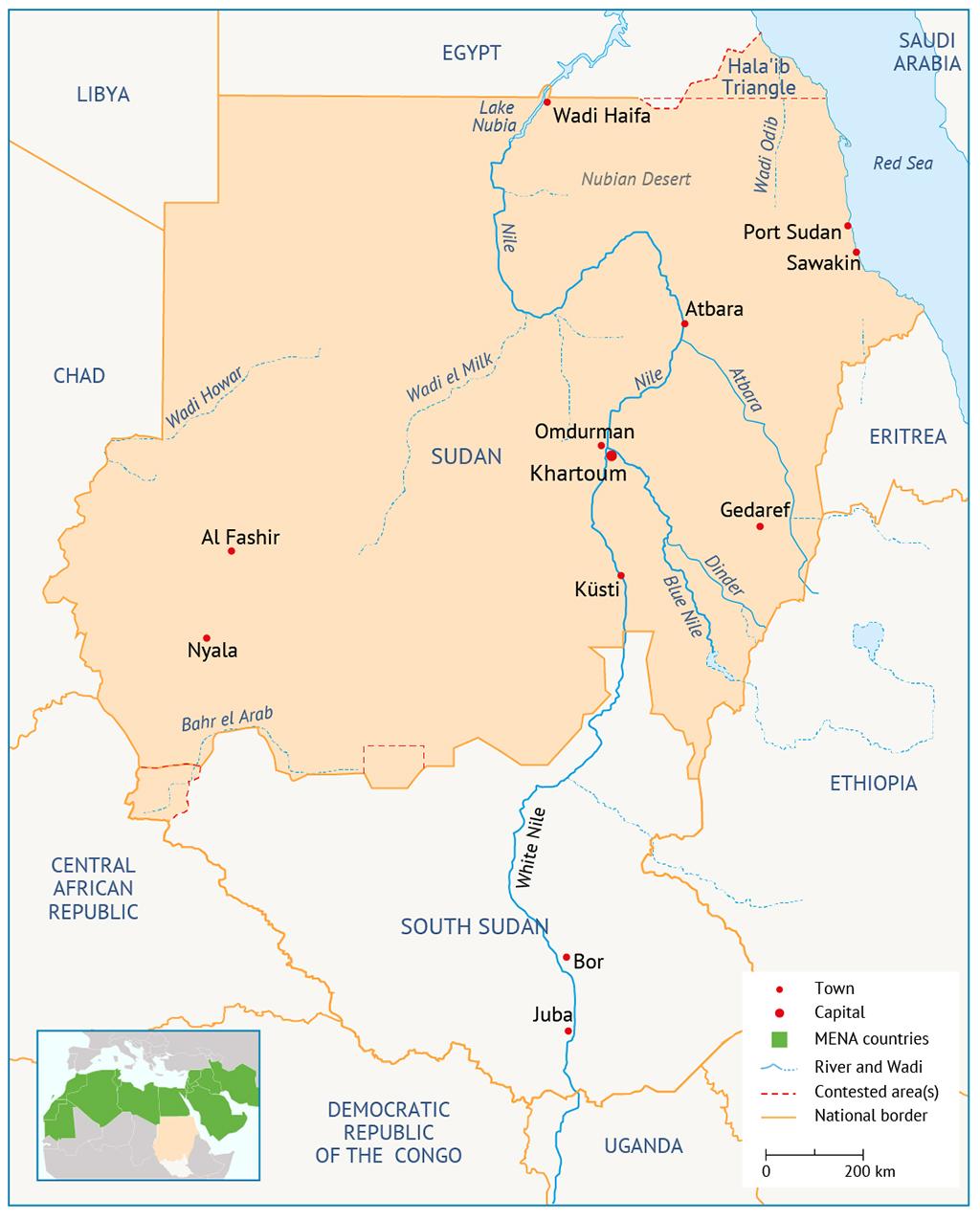 Map Sudan خريطة السودان