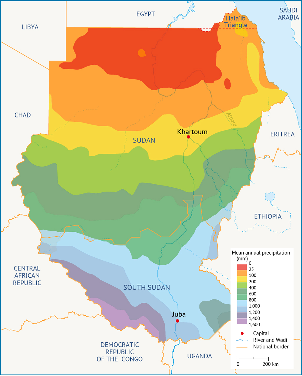 Average annual rainfall in South Sudan and Sudan