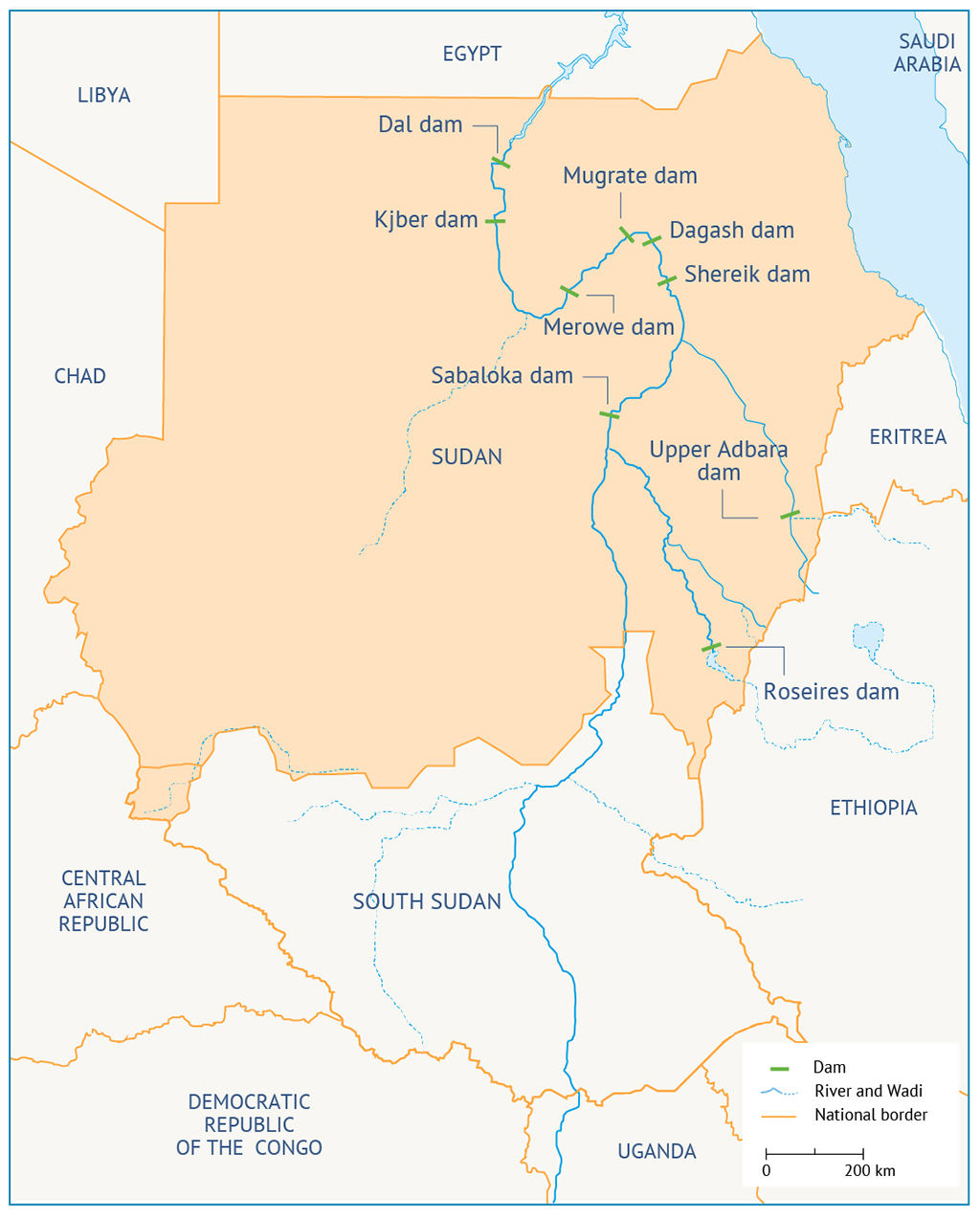 Map 1: Location of dams on the Nile in Sudan Dam السد السدود
