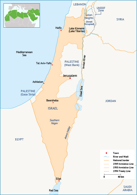 Map 2. Map of Israel. Source: Fanack after University of Texas Libraries.