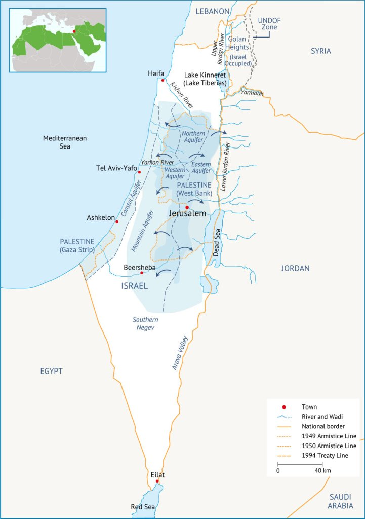 Figure 3. Water resources in Israel. Source: Fanack based on Mediterranean Affairs.