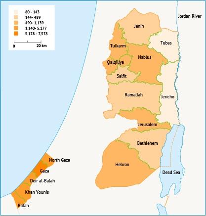 الكثافة السكانية في الأراضي الفلسطينية