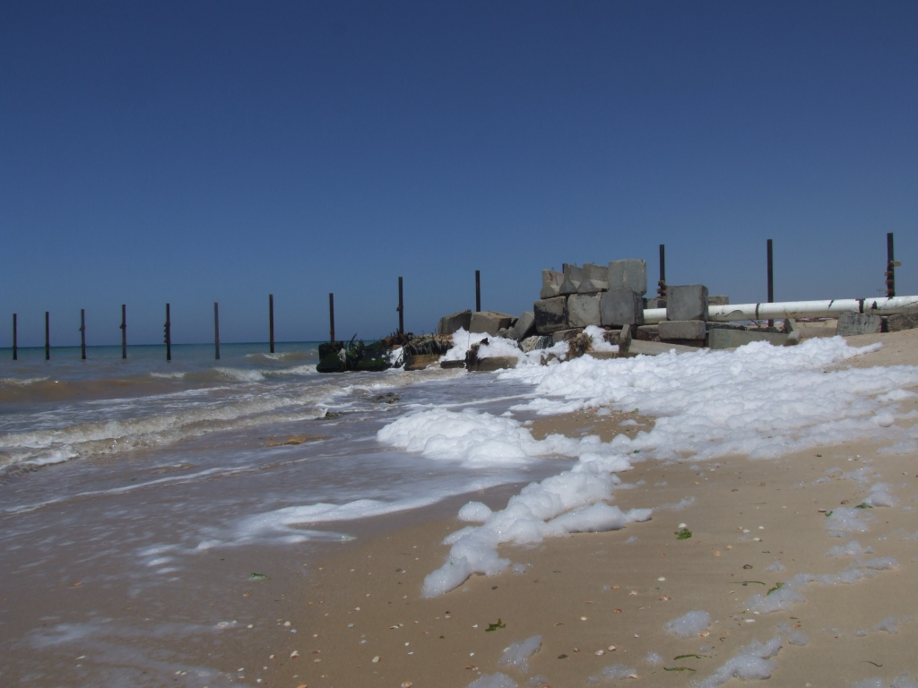 Sewage outflow on the beach in Gaza. Photo: Cara Flowers.