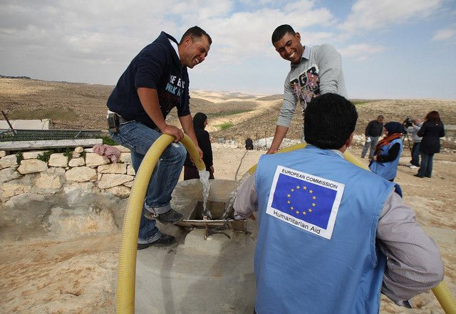 People in Tuba are not connected to a water network. Through ECHO, GVC built four cisterns for the community, and rehabilitated the road through which water tanks can easily reach to the community. Photo: ECHO Jerusalem