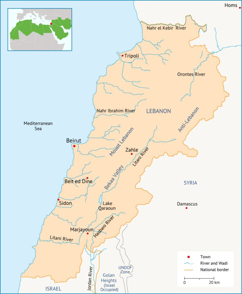 Lebanon Maps And Infographics Fanack Water - Lebanon map