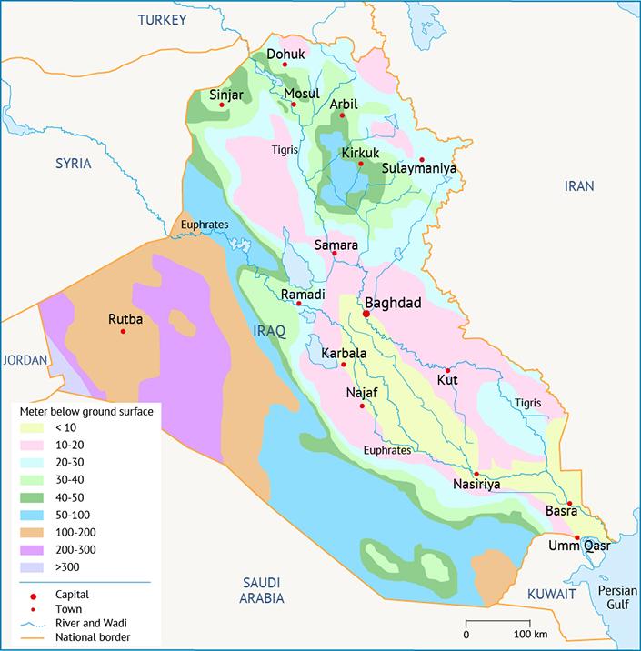 عمق المياه الجوفية في المناطق الهيدروجيولوجية نوعية المياه في العراق