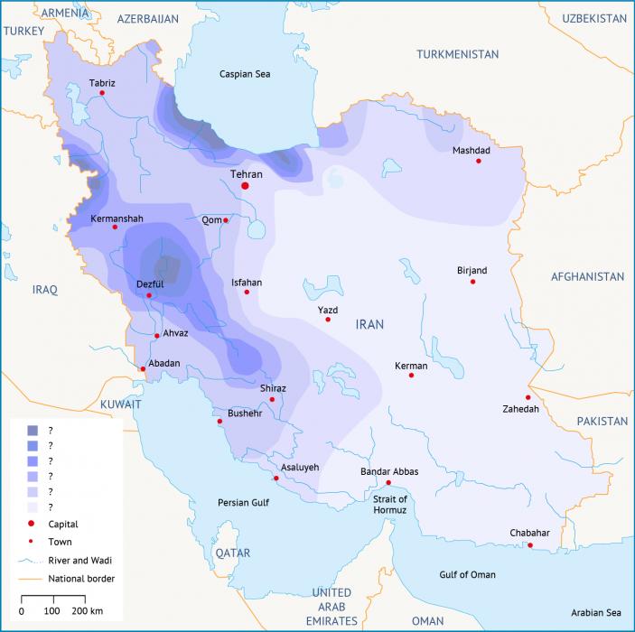 تحديات المياه في إيران هطول الأمطار خريطة