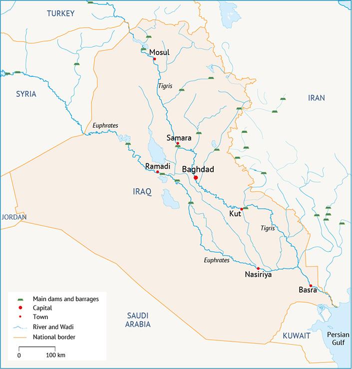 The Marshes in the 20th Century Impacts of dams السدود والقناطر الرئيسية في مستجمعات المياه في دجلة والفرات الأهوار