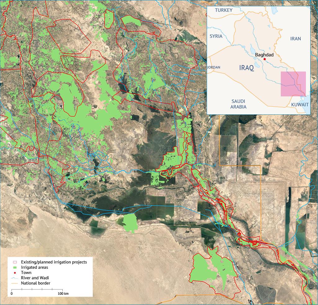 the marshlands Impacts of agriculture الأراضي الزراعية ومشاريع الري داخل منطقة الأهوار أهوار العراق