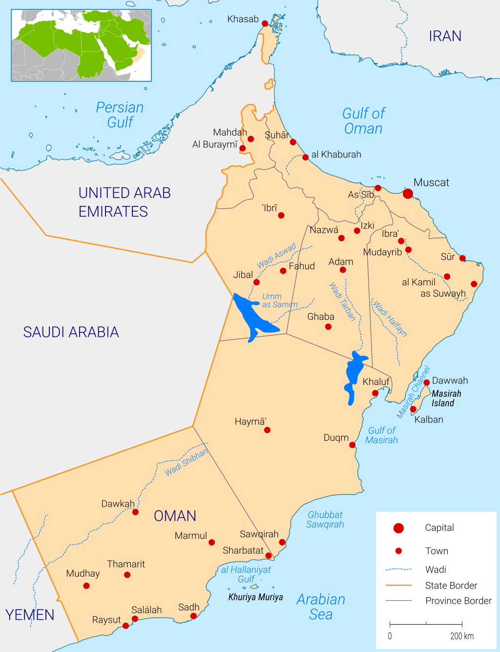 Map of Oman water Fanack
