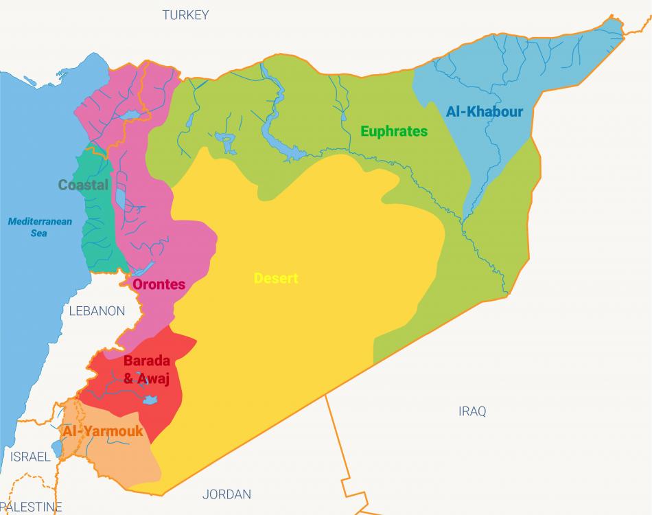 الخريطة 1: أحواض المياه في سوريا. اضغط للتكبير. @ Fanack.com