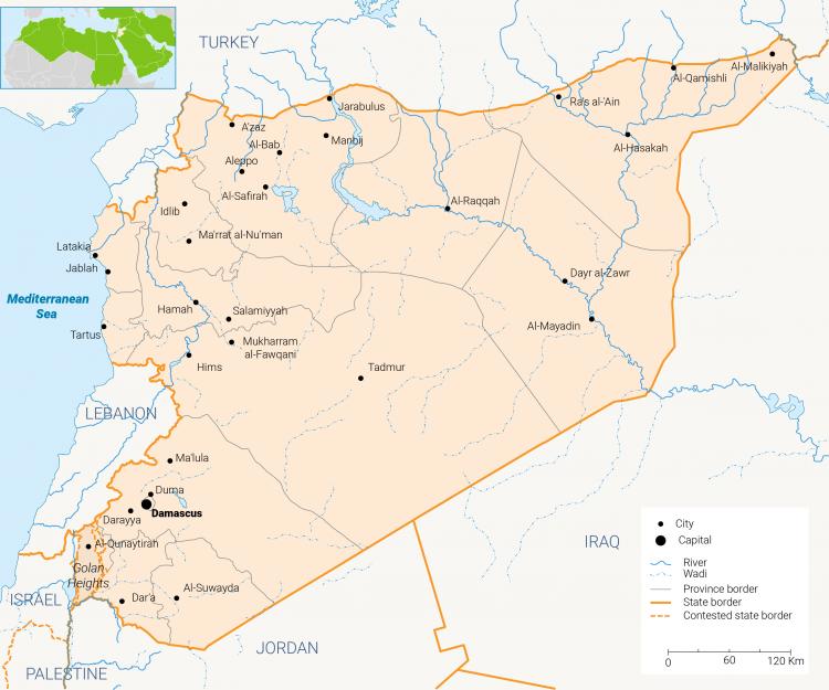 الخريطة 1: خريطة سوريا. اضغط للتكبير. @Fanack.com