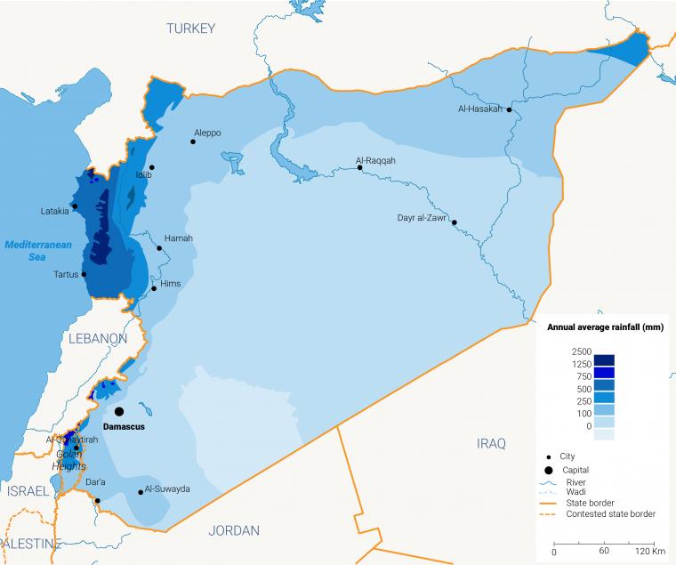 الخريطة 2: هطول الأمطار في سوريا. اضغط للتكبير. @Fanack.com