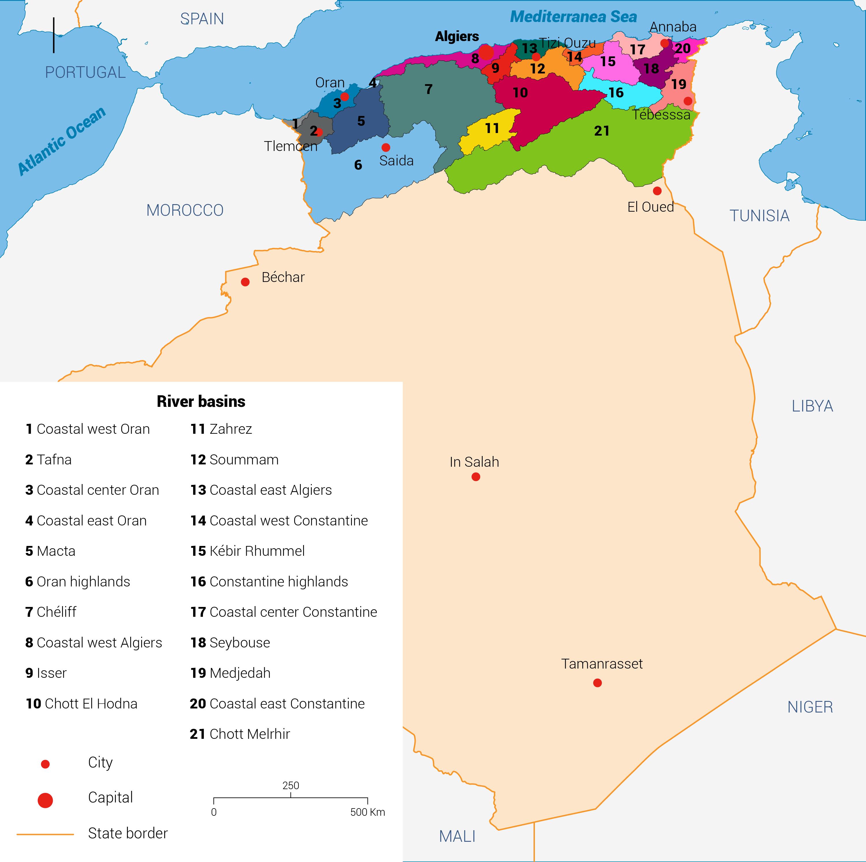 أحواض الأنهار الرئيسية في الجزائر.
