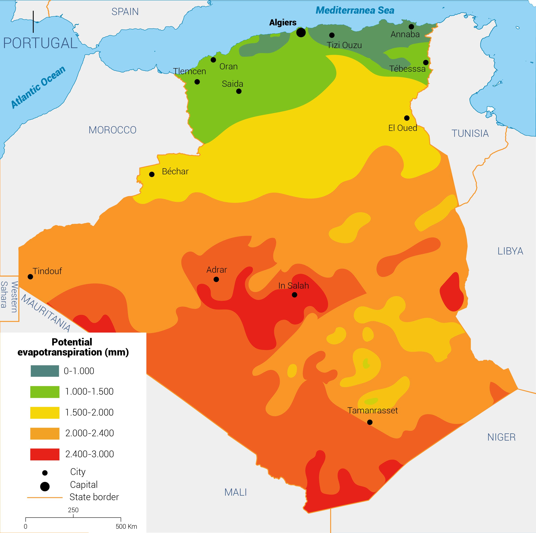 التبخر السنوي الجزائر