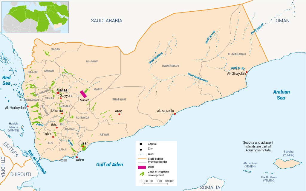 Map of Yemen Water in Yemen