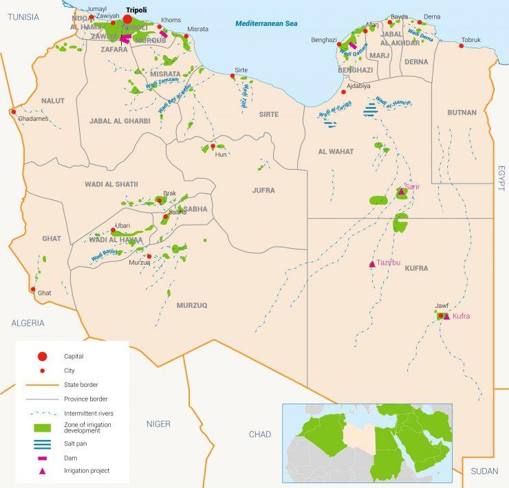 خريطة ليبيا المياه في ليبيا